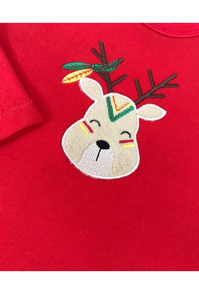 Happy Moon Tshirt Geyik Nakışlı Kırmızı 18 - 24 Ay