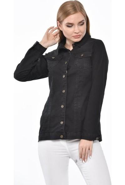 Modkofoni Düğmeli,cepli ve Likralı Yıkamalı Düz Kesim Siyah Kot Ceket