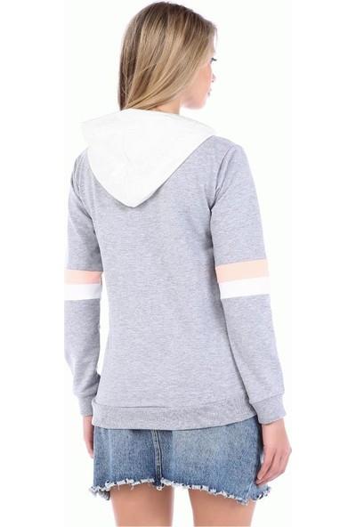 Modkofoni Beyaz Kapşonlu Baskılı Kol Detaylı Gri Sweat Shirt