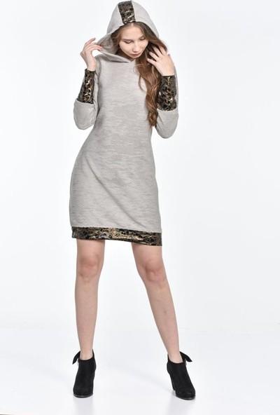 Modkofoni Kapşonlu Kol ve Etek Kenar Detaylı Gri Elbise