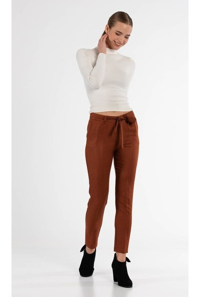 Modkofoni Kuşaklı Tarçın Bilek Pantolon
