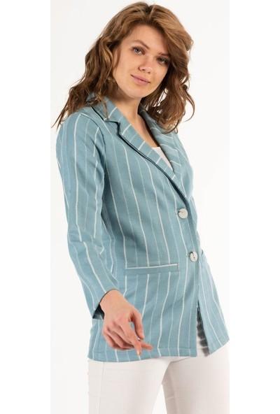 Modkofoni Düğme Detaylı Çizgili Mavi Ceket