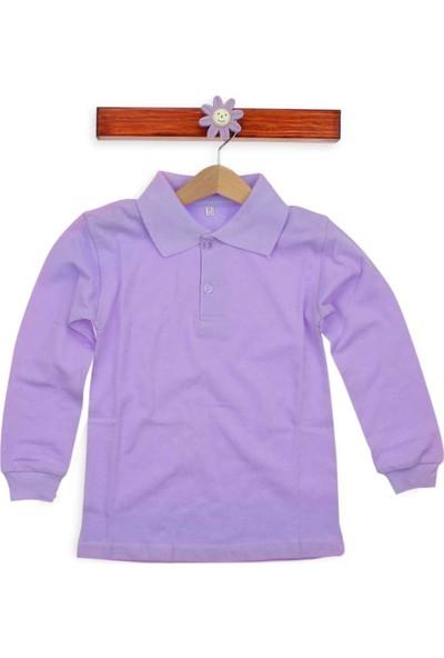 Alm Lila Polo Yaka Pamuklu Çocuk Basic T-Shirt