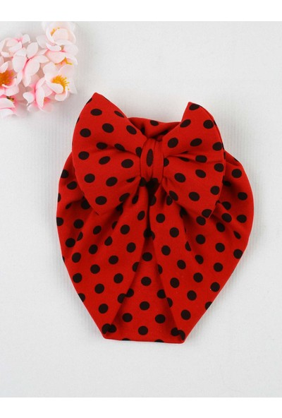 Özlem Bebe Kırmızı Fiyonklu Kız Bebek Bone