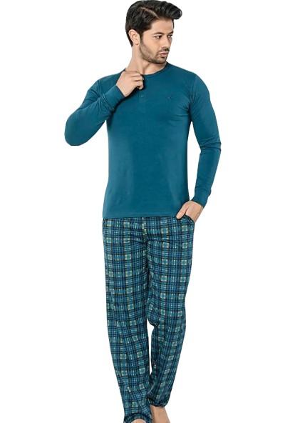 Akare 308 Mevsimlik Likralı Uzun Kollu Cepli Erkek Pijama Takımı Ev Pijaması
