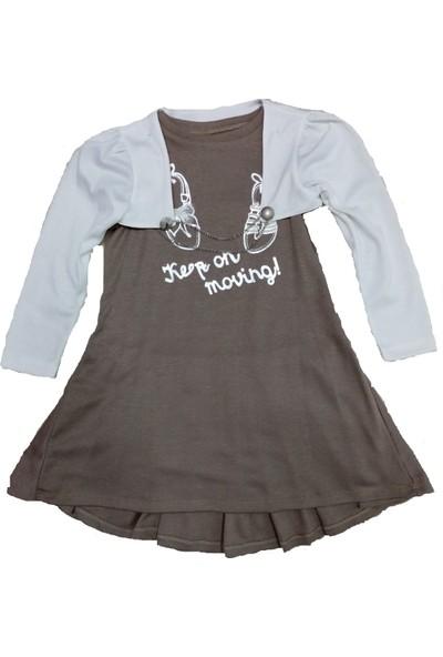 Nay Nay Kız Çocuk Bolerolu Önü Desenli Elbise