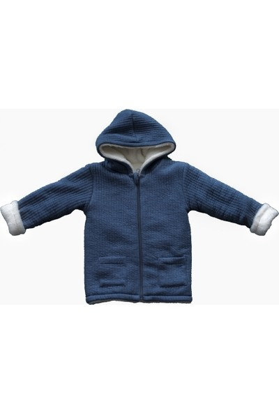 Miela Kids Kapüşonlu Ceket Çift Taraflı Peluş 3 - 4 Yaş Mavi