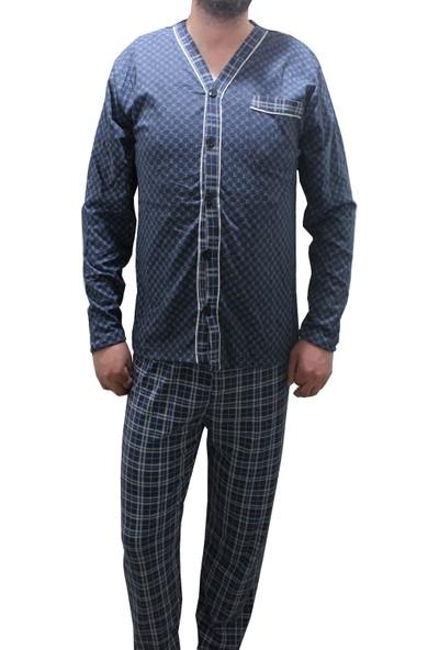 Modatime Erkek Önden Düğmeli Yazlık Pijama Takımı