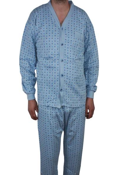 Modatime Erkek Önden Düğmeli Kışlık Pijama Takımı