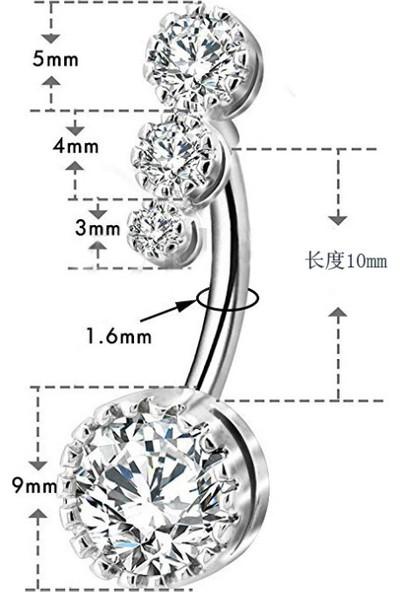 Chavin Dört Sıra Taşlı Göbek Piercing