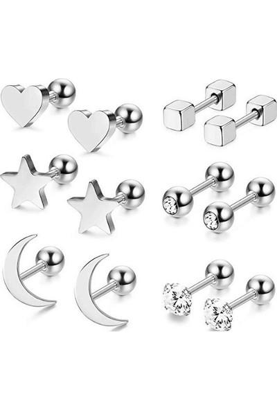 Chavin Gri Çelik 6'lı Takım Küpe Piercing