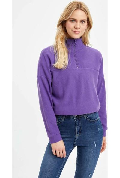DeFacto Kadın Fermuar Detaylı Büzgülü Sweatshirt