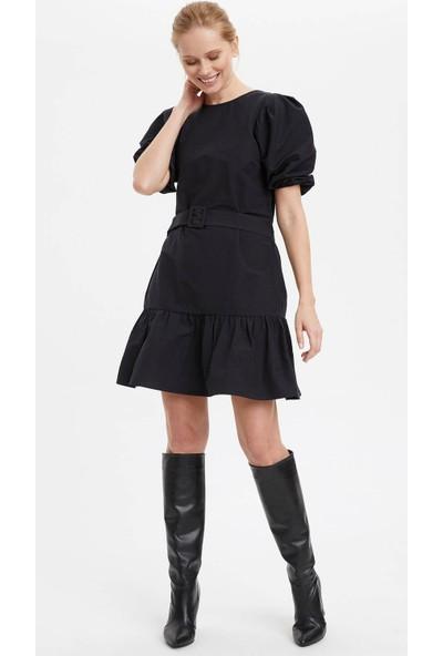 DeFacto Kadın Kemerli Balon Kol Elbise