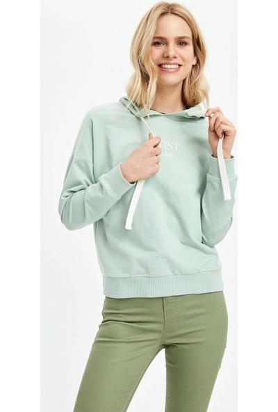 DeFacto Kadın Yazı Baskılı Kapüşonlu Sweatshirt