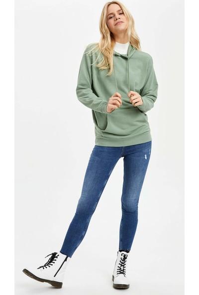 DeFacto Kadın Kapüşonlu Kanguru Cepli Basic Sweatshirt