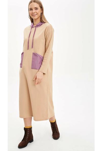 DeFacto Renk Bloklu Cep Detaylı Uzun Elbise N8347AZ20SP