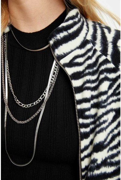 DeFacto Kadın Zebra Desenli Sweatshirt