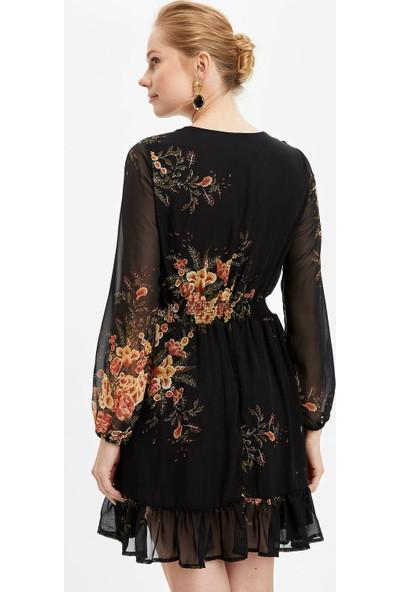 DeFacto Kadın Desenli Dokuma Elbise