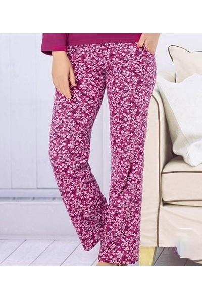 Akare 413 Pamuklu Likralı Uzun Kollu Kadın Pijama Takımı Ev Pijaması