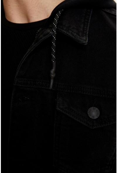 DeFacto Erkek Kapüşonlu Kolları Örme Jean Ceket