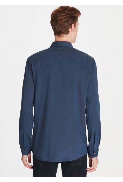 Mavi Çift Cepli Denim Gömlek
