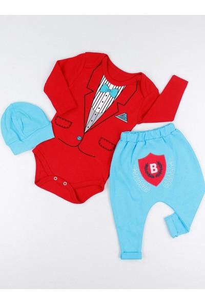 Eyaz Baby Tulum Takım Smokin 3'lü Erkek Bebek Kırmızı 3 Ay