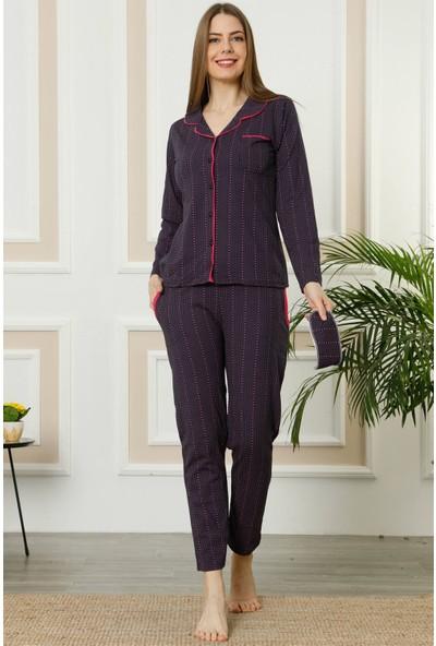 Akbeniz Kadın Mor Fuşya Pamuklu Düğmeli Cepli Uzun Kol Pijama Takım 2460