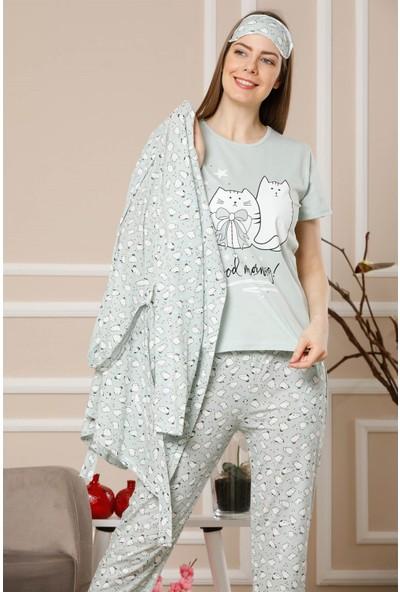 Akbeniz Kadın Su Yeşili Renk Pamuklu Cepli 3'lü Pijama Takım 1113