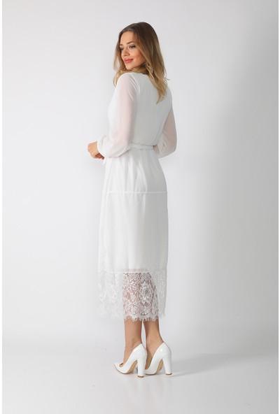 Alfa Abiye Kadın Şifon Uzun Kol Midi Boy Elbise 706