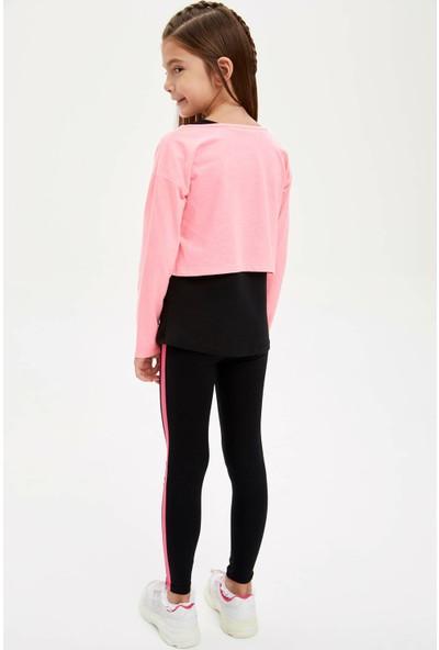 DeFacto Kız Çocuk Slim Fit Neon Yazı Baskılı Tayt
