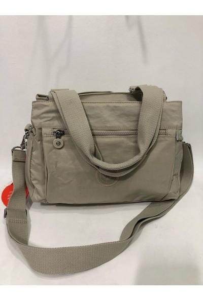 Smart Bags Çok Gözlü Kadın Krinkıl Kumaş Omuz Çantası Bej