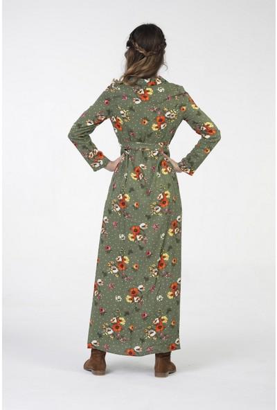 New Laviva Uzun Kollu Viskon Çiçek Desenli Uzun Yeşil Kadın Elbise