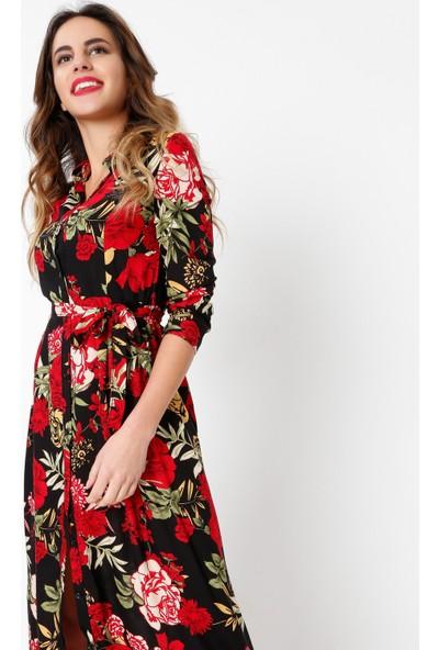 New Laviva Uzun Kollu Viskon Çiçek Desenli Kuşaklı Uzun Siyah Kadın Elbise