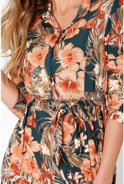 New Laviva Uzun Kollu Viskon Çiçek Desenli Kuşaklı Uzun Haki Kadın Elbise