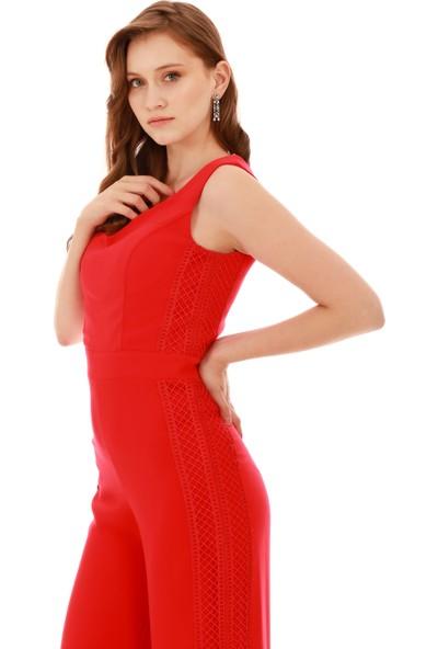 6Ixty8Ight Kırmızı Yanları Dantel Tulum Elbise