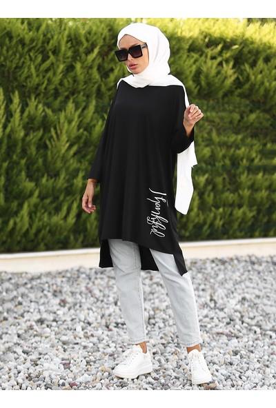 Lazeyn Kadın Sol Eteği Baskılı Arkası Uzun Tunik
