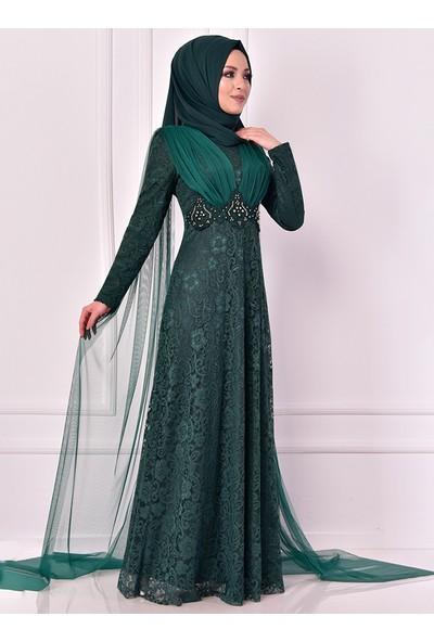 Ayşe Melek Tasarım Kadın Pelerin Aplikeli Dantelli Abiye Elbise