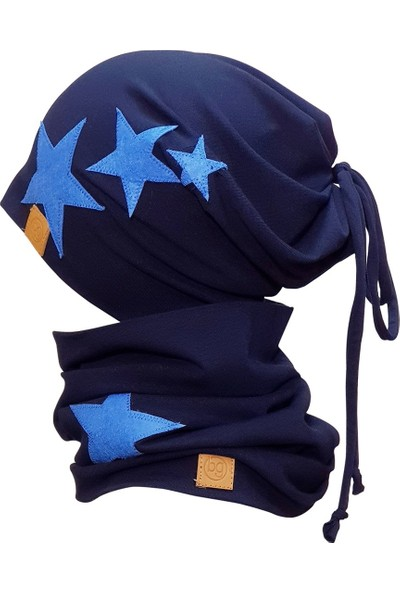 Babygiz Erkek Çocuk Lacivert Mavi Renkli Bere Boyunluk