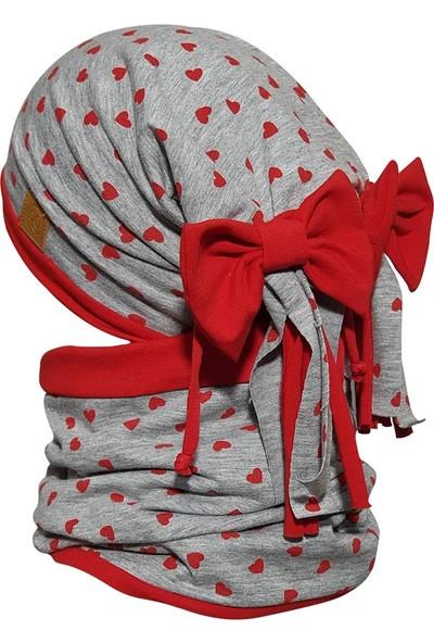 Babygiz Kız Bebek Gri Kırmızı Renkli Bere Boyunluk