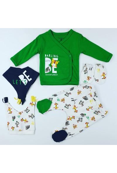 Fantastic Baby Hastane Çıkış Bebek Seti 5'li Yeşil - Beyaz 0 - 3 Ay
