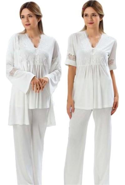 Duchesse 3007 Yakası Dantel Detay Sabahlıklı Lohusa Pijama Takımı