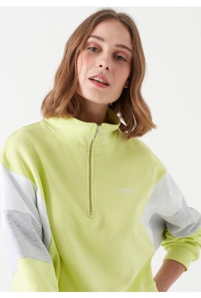 Mavi Kadın Fermuarlı Blok Renkli Sweatshirt