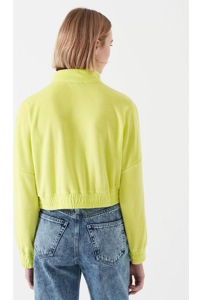 Mavi Kadın Fermuarlı Yeşil Sweatshirt