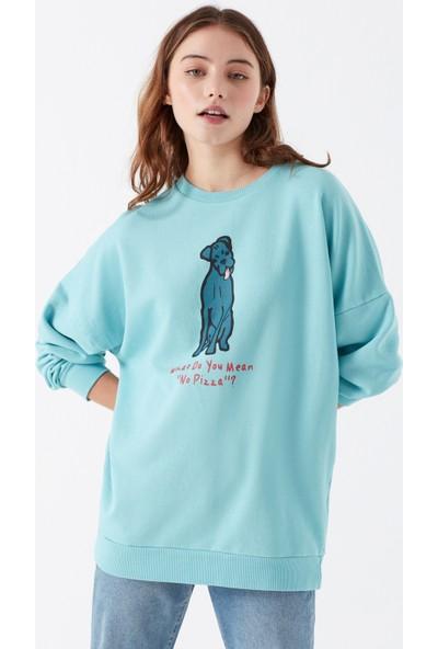 Mavi Kadın Köpek Baskılı Sweatshirt