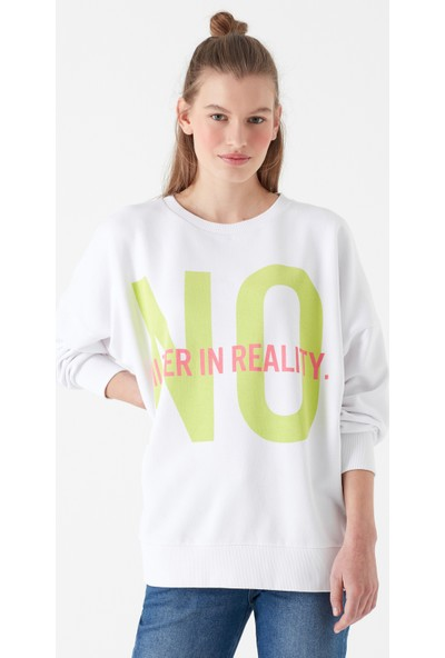 Mavi Kadın No Baskılı Beyaz Sweatshirt