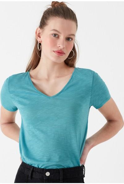 V Yaka Mavi Basic Tişört 168260-30735