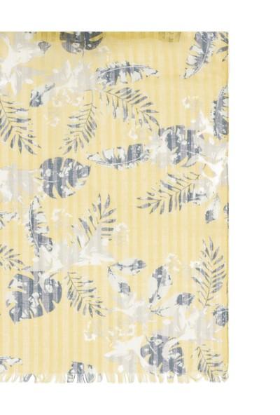 Mavi Kadın Desenli Sarı Şal 197189-30646