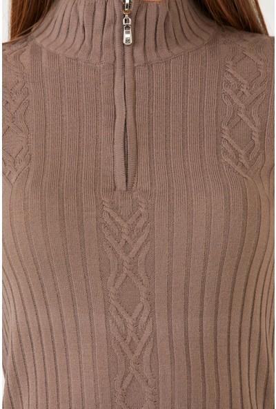 Sementa Yarım Fermuarlı Kısa Kadın Triko Elbise - Vizon