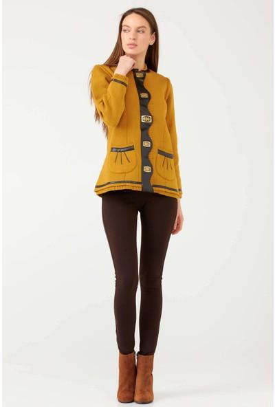 Sementa Suni Deri Detaylı Cepli Kadın Triko Ceket - Güneş - Kahverengi