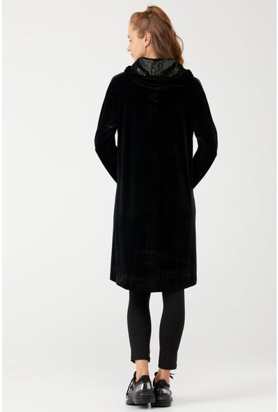 Sementa Işıltı ve Taş Detaylı Kadife Kadın Tunik - Sarı - Siyah